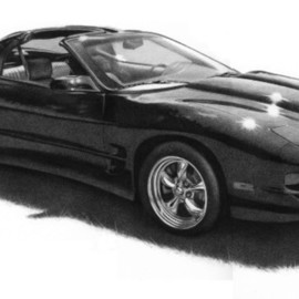 Brian Duey Artwork Trans AM Drawing, 2006 Pencil Drawing, Automotive