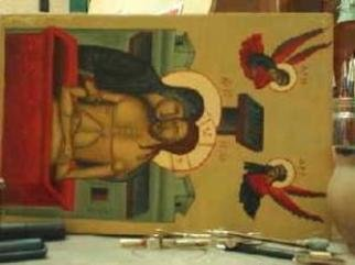 Csiokmai Stefan: 'Smol icon with Jesus', 2005 Tempera Painting, Religious.