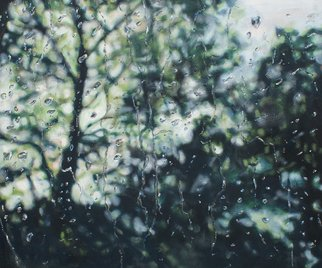 Sarah Beth Goncarova: 'Rain drops on Studio Window', 2011 Acrylic Painting, Abstract Landscape. Artist Description:  This painting was inspired by the rain I wanted to freeze a moment in time and how the raindrops on my studio window looked in that single second. In each raindrop is a warped mirror image of the trees beyond, sometimes so tiny that it is just a ...