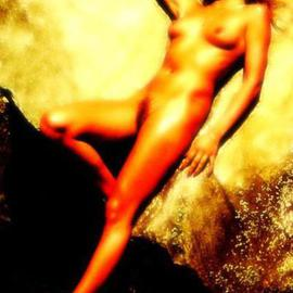 Gottfried In Berlin: 'Bronzed, Naked at the Portal', 1995 Other Photography, nudes. Artist Description:  female, woman, young, blonde, classic, nude, naked, fire, portal, yellows, ...