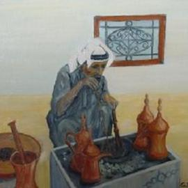 Ghassan Rached: 'Arabic Coffee', 2000 Oil Painting, Figurative.