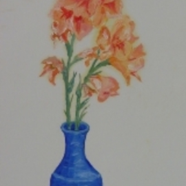 Ghassan Rached Artwork Blue Vase, 1996 Oil Painting, Floral