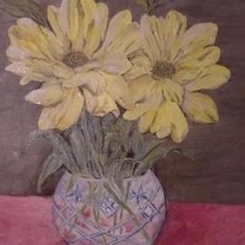 Ghassan Rached: 'Crystal Vase', 2000 Oil Painting, Floral. Artist Description: Yellow flowers in a crystal vase, is one of a series of flower vases painted in Oil by Ghassan Rached...