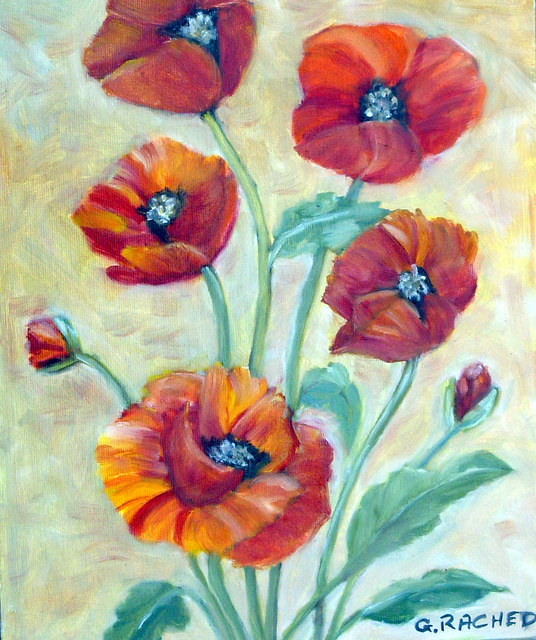 Ghassan Rached  'Five Poppies', created in 2005, Original Painting Oil.