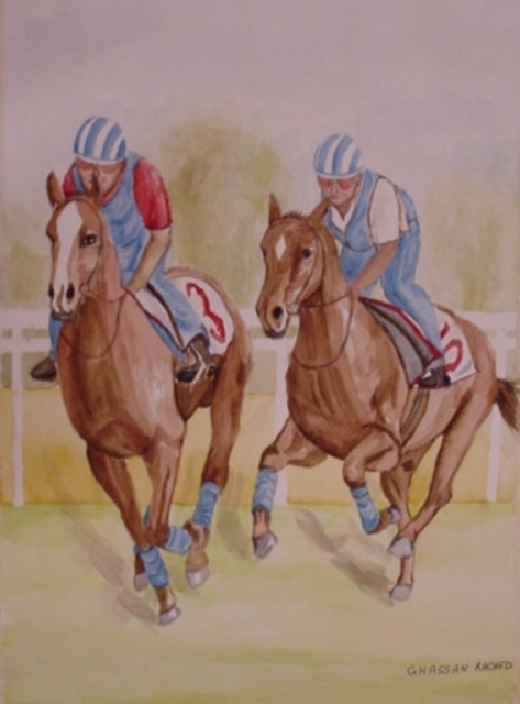 Ghassan Rached  'Racing Horses', created in 2002, Original Painting Oil.