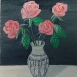 Ghassan Rached: 'Roses in a metal vase', 2001 Oil Painting, Floral. Artist Description: Oil Painting By Ghassan Rached on canvas panel...
