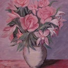 Ghassan Rached: 'Vase2', 2000 Oil Painting, Floral. Artist Description: Oil Painting by Ghassan Rached. One of a series of Flower Vases. ...