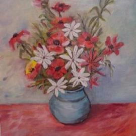 Ghassan Rached: 'Vase 1', 2000 Oil Painting, Floral. Artist Description: Oil Painting by Ghassan Rached. One of a series of Flower Vases. ...