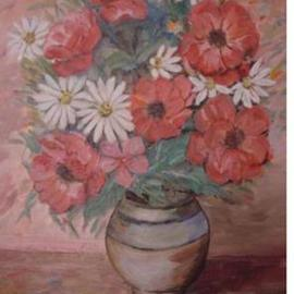 Ghassan Rached Artwork Vase 4, 2000 Oil Painting, Floral