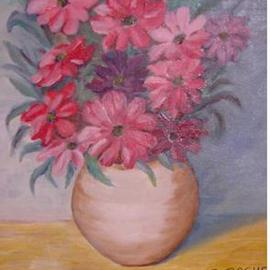 Ghassan Rached: 'Vase 5', 2000 Oil Painting, Floral.