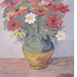 Ghassan Rached: 'Vase 6', 2000 Oil Painting, Floral.