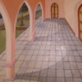 Ghassan Rached Artwork Village House, 1997 Oil Painting, Architecture