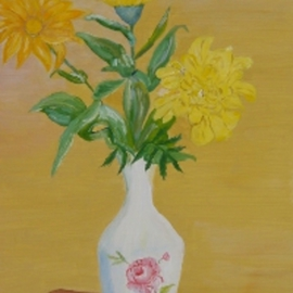 Ghassan Rached Artwork Yellow Flowers, 2000 Oil Painting, Floral