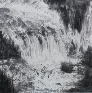 Grace Auyeung: 'Impressio of Jiuzhaigou', 2009 Ink Painting, Landscape. Artist Description:   landscape, rapids, waterfall, Chinese landscape, ink wash painting  ...