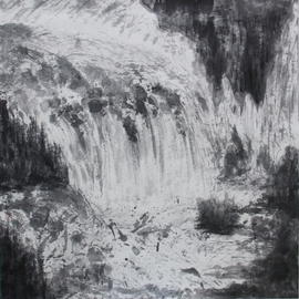 Grace Auyeung Artwork Impressio of Jiuzhaigou, 2009 Ink Painting, Landscape