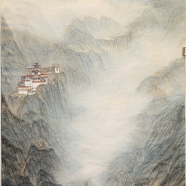 Grace Auyeung: 'retreat', 2012 Other Painting, Landscape. Artist Description: MENTAL PORTRAYAL OF A LANDSCAPE DEPICTING A MONASTERY, A SPIRITUAL SYMBOL FOR THE MUNDANE  CHINESE INK, COLOUR ON XUAN PAPER...