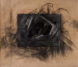Abstract Charcoal Drawing by Marcia Freedman Title: Connecting Places, created in 2007