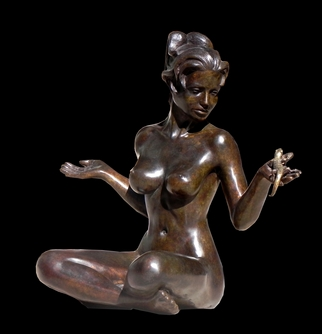 Bronze Sculpture by Frederic Clerc-renaud titled: Miss Twenty and Salamander secret, created in 2010