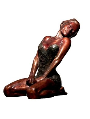 Frederic Clerc-renaud: 'Stretching', 2010 Bronze Sculpture, Figurative. Artist Description:      figurative bronze sculpture with walnut patina   ...