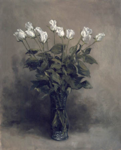 Artist Brian Paterson. 'Dozen White Roses' Artwork Image, Created in 2002, Original Painting Oil. #art #artist