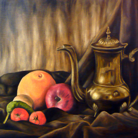 Grant Burke: 'Brass Teapot with Fruit Still Life', 2008 Oil Painting, Still Life. Artist Description:  Displays a still life of a renaissance style brass teapot, which is surrounded by fruits, vegetables, and drapery ...