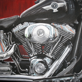 Grant Burke: 'Harley Davidson', 2008 Oil Painting, Transportation. Artist Description:  Depicts a close- up view of a black Harley Davidson with an emphasis on the engine ...