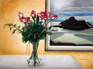 Music Oil Painting by Grant Burke Title: Vase of Roses Lawren Harris Tribute, created in 2008