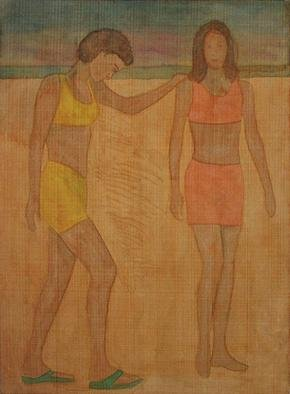 Gary Richard D.: 'Las Amigas de la Playa No1', 2012 Monoprint, People. girlfriends  ...