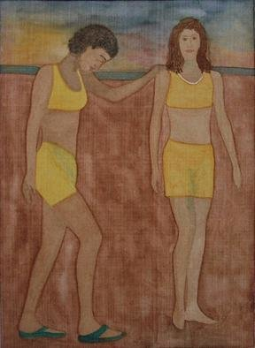 Gary Richard D.: 'Las Amigas de la Playa No2', 2012 Monoprint, People. girlfriends   ...