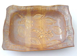 Cathy Green Artwork Glazed Stoneware Rectangle Dish in Caramel and Maple, 2006 Pottery, Nature