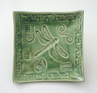 Cathy Green Artwork Small Stoneware Dish Emeraude Dragonfly Pottery, 2006 Pottery,