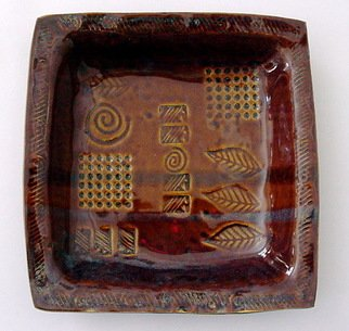 Cathy Green Artwork Stonware Pottey Dish Deep Amber, 2006 Pottery,