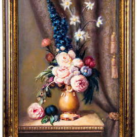 Gregori Furman: 'Still Life', 2014 Oil Painting, Floral. Artist Description:  Vase with flowers in warm colors  ...