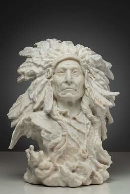 Grigorii Ponomarev: 'the indian chief red cloud', 2019 Marble Sculpture, Famous People. I carve one of the most famous Indian chief Red Cloud. I tried to portray the freedom and wisdom that he had. ...