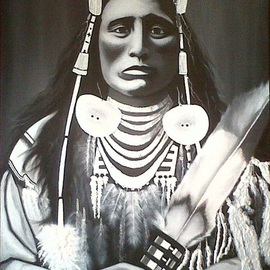 Treacey Kotze: 'Medicine Crow by Treacey', 2011 Acrylic Painting, Portrait. Artist Description:  Medicine Crow by Treacey Kotze, Acrylic on very large Deep edge Box Style Canvas.  Portrait Painting of Native American Indian Medicine Crow ...