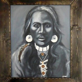 Treacey Kotze: 'Yakima Brave by Treacey Kotze', 2010 Acrylic Painting, Portrait. Artist Description:  Yakima Brave by Treacey Kotze, Acrylic on Canvas.Striking Portrait Painting of a young Brave from the Yakima Tribe, Native American IndianThe frame is hand- carved and scorched.  ...