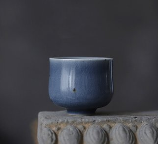 Guangyu Li: 'deep blue', 2019 Handbuilt Ceramics, Abstract. hand- made mazarine porcelain teacup, collection level...