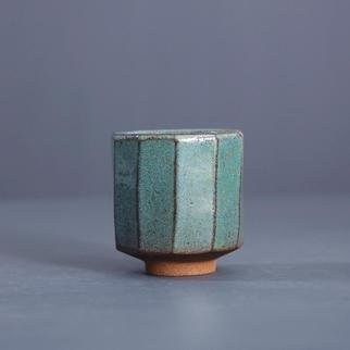 Guangyu Li: 'emerald', 2019 Handbuilt Ceramics, Abstract. Zhiye Emerald Stoneware handmade porcelain teacup, wine cup...