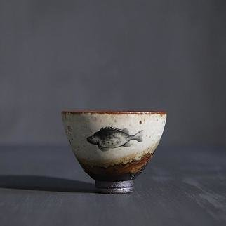 Guangyu Li: 'tale of sea and mountain', 2019 Handbuilt Ceramics, Animals. Inspired by the ancient Chinese classic about legendary animals and plants- the tale of seas and mountains. Fish is hand- painted on a handmade ceramic teacup, showing a sense of history and oriental aesthetic. ...