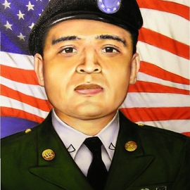 Baldemar Vargas: 'Portrait of a Hero', 2007 Oil Painting, Military. Artist Description:  Oil painting of ARMY Sgt. Roger P. Pena jr. 29. Killed in action in Afghanistan in 2006. Portrait painted as a gift from the Vargas family. ...