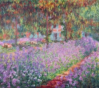 Andrew Giffen: 'the arrists garden at giverny', 2000 Oil Painting, Botanical. Artist Description: art with flowers and trees...