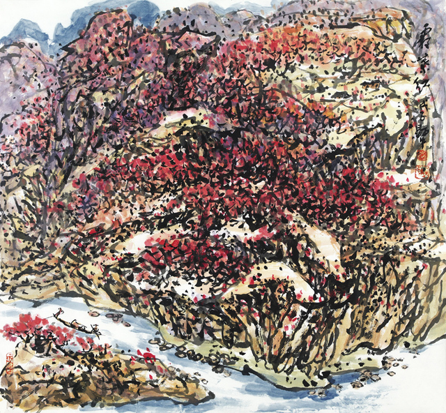 Xianzhong Guo  'Autumn Leaves Are Red', created in 2011, Original Paper.