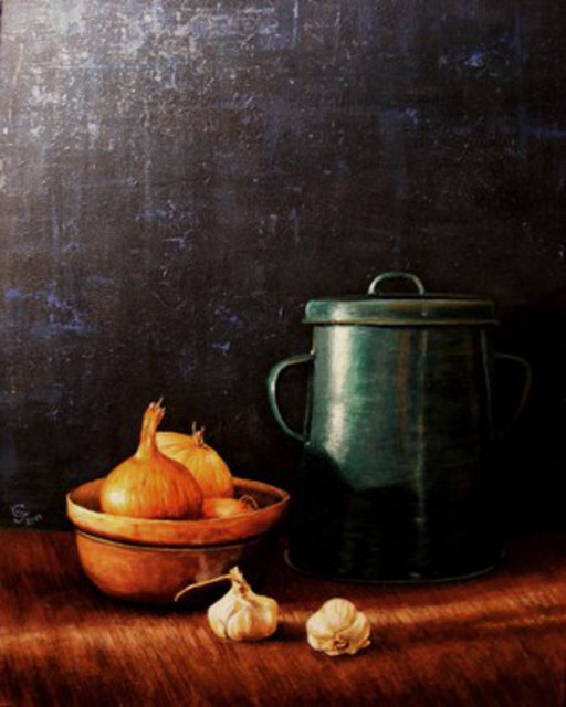 Ivan Grozdanovski  'Onions And Pan Fat', created in 2014, Original Pastel.