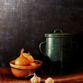 Ivan Grozdanovski: 'Onions and pan fat', 2014 Acrylic Painting, Still Life. Artist Description:                          Onions and pan                Cottage in early spring                        ...