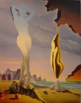 Gyuri Lohmuller: 'the woman', 2005 Oil Painting, Surrealism. The original was sold.Upon  request, I can paint a similar theme more or less accurate than the original. Please contact me to order....