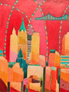 Habib Ayat: ' cityscape of Downtown Manhattan', 2014 Oil Painting, Cityscape.  nyc, cityscape, oil painting, Manhattan, buy art, local art, interior design, love, peace, canvas, downtown, urban, red, streets o fnyc ...