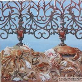Tom S. Hageman: 'Grille with seafood', 2013 Oil Painting, Figurative. Artist Description:      the imagenary city of Prague    ...