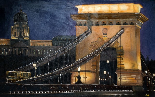Andreas Halidis  'Chain Bridge', created in 2001, Original Painting Oil.