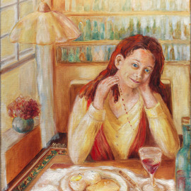 Hana Grosova: 'Dreaming girl', 2005 Oil Painting, Portrait. Artist Description:  This picture shows the dreaming girl  sitting by the table. On the table there is one plate with food and there you can see also one bottle and one glass with drink. ...