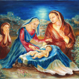 Hana Grosova: 'Holy Night', 2006 Oil Painting, Biblical. Artist Description:  This picture is painted in accordance with Bible and it shows Jesus with Maria and Joseph in the night landscape. There are also two prey persons. ...